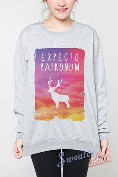 Expecto Patronum Galaxy Jumpers Harry Potter Pastel Movie Tshirt Shirt Grey Women Sweaters Tee Unisex Sweatshirt Size S M L