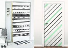 Crie padrões nas portas com fitas ou tintas.