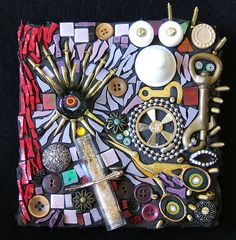Found Objects Mosaic - Sinister by Lynn Bridge, via Flickr.  Instead of using a jug, you could make a Memory Plaque for a loved one similar to this.