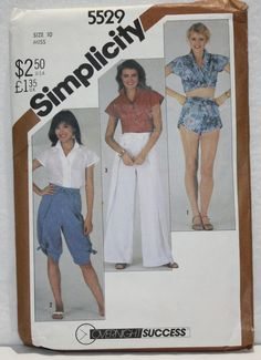 1982 Vintage Simplicity Sewing Pattern 5529 Wrap Pants in 3 Simplicity Sewing Patterns, Vintage Patterns, Wrap Pants, Pants Pattern, Long Pants, Shorts, Sleeves, How To Wear, 1980s