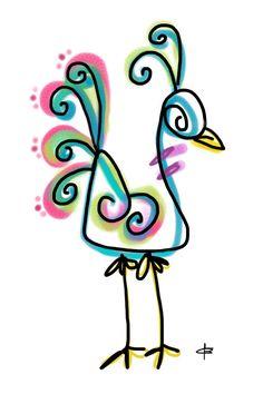 Peacock art - funky watercolor
