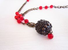 Set in red of Necklace Bracelet and Earrings by JewelryNeshElly, $25.00