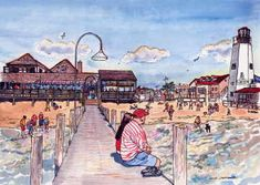 Dewey Beach, DE painting of the Rusty Rudder and pier, as well as lighthouse! Anyone remember when you could walk up the stairs to the top of the lighthouse? Fun times!