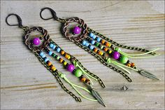 FREE SHIPPING Gypsy long earrings boho dangle by SweetlyART