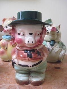 Vintage Art Pottery Sheriff Pig Cookie Jar Robinson Ransbottom | eBay