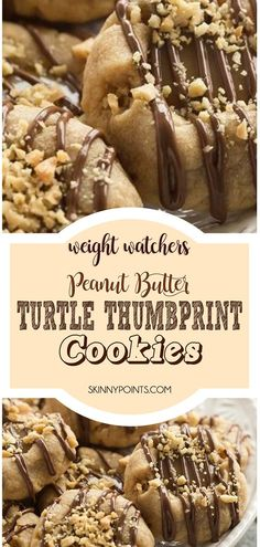 These Peanut Butter Turtle Thumbprint Cookies are a new twist on a classic Christmas cookie — with a peanut butter cookie base, a simple caramel filling, a drizzle of chocolate and a sprinkling of peanuts, they're sure to be a new holiday tradition! Ww Desserts, Weight Watchers Desserts, Healthy Desserts, Delicious Desserts, Dessert Recipes, Healthy Recipes, Healthy Appetizers, Clean Recipes, Ww Recipes