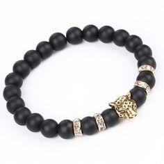 Vintage Gold Silver Plated Leopard Head Charms Bracelets Fashio Scrub Volcano Stone Beads Bracelets Men / Women Stretch Bracelets Jewelry