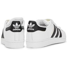 Womens Low-Top Trainers Adidas Originals Superstar White Leather... ($93) ❤ liked on Polyvore featuring shoes, sneakers, adidas originals sneakers, lace up sneakers, lacing sneakers, white leather trainers and leather sneakers