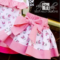 skirt kids Ships same day // Size 6 Adorable Easter Bunny Pink Gingham Bow . Ships same day // Size 6 Adorable Easter Bunny Pink Gingham Bow Skirt Kids Frocks Design, Baby Frocks Designs, Baby Girl Dress Patterns, Baby Dress Design, Kids Dress Wear, Little Girl Dresses, Baby Skirt, Skirts For Kids, Kids Outfits
