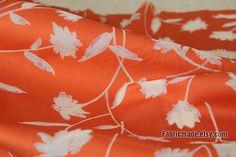Orange Cotton Fabric With White Transparent Jacquard by fabricmade