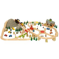 Set contains 112 pieces. There is so much to do and see – train pulling away from the station and starts to chuff up the mountain pass over the top and downnnnnnnnnn the other side, whizzing over bridges and through a tunnel, passing villages, trees and orchards, vehicles and lots of smiley people. Want to go the other way? Onto the turntable and off you go to the crane yard to unload your trucks.