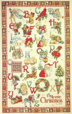 embroidery schemes Christmas alphabet. New sampler / master class