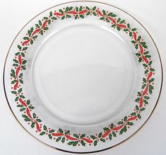 1980's Set of 4 (FOUR) Arby's Christmas Desser/Salad Plates- Holly and Berry Holiday Glasses by Libbey with Gold Edge by AuntieQsVintage on Etsy https://www.etsy.com/listing/568539112/1980s-set-of-4-four-arbys-christmas