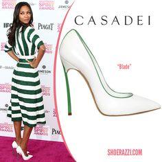white with green trim plate set   Casadei-black-pump-white-green-Zoe-Saldana