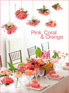 pink coral and orange party table setting