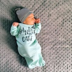 @lovelittlefaces / @littlefacesapparel - Handle with care, baby sleepers, baby gowns, baby clothes, photoshoot ideas