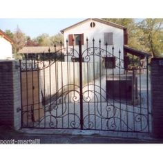 Wrought Iron Driveway Gate. Customize Realisations. 051 Wrought Iron Driveway Gates, Applique Designs, Wall Signs, Wood Art, Small Spaces, Scandinavian, Deck, Outdoor Decor, Pictures