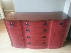 """Antique glazed Drexel Buffet refinished in a cherry red and dark glaze. Top refinished in a kona stain. Original hepplewhite drawer pulls refinished on oil rubbed bronze. Dimensions are 36.5"""" tall, 60 ' wide and 22.75"""" deep.  https://www.facebook.com/OlCountryChic"""