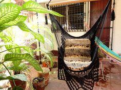 Black Sitting Hammock Hanging Chair Natural Cotton and by hamanica, $47.00