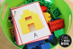 Use alphabet Lego cards from centers for morning baskets.