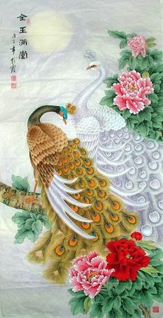 Such exquisite Peacock and Peahen painting on Silk! Peacock And Peahen, Peacock Bird, Peacock Painting, Marble Painting, Chinese Painting, Chinese Art, Peacock Wallpaper, Peacock Images, Asian Artwork