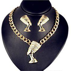 Set masiv colier si cercei aurii Nefertiti