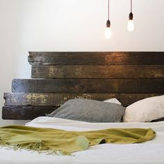 Bryant Bed - So & So Designs Handcrafted Goods I almost reckon I could do this myself! Funky Furniture, Home Furniture, Reclaimed Wood Bed Frame, Platform Bed Frame, Headboards For Beds, Apartment Living, Decoration, Home Decor Inspiration, House Design