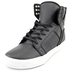 Supra Supra Skytop Round Toe Leather Sneakers (406554001) ($104) ❤ liked on Polyvore featuring men's fashion, men's shoes, men's sneakers, black, shoes, mens black leather sneakers, mens black shoes, mens black sneakers, mens leather sneakers and mens leather shoes