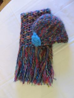 Bright Multicolored Scarf and Hat Set by clriegs on Etsy, $45.00