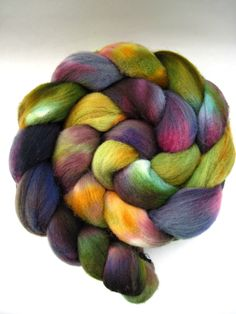 merino wool roving, spinning fiber, spinning fibre, hand dyed roving, hand painted roving, kettle dyed, combed top, gold green purple blue by WeeChickadeeWoolery on Etsy https://www.etsy.com/listing/219768849/merino-wool-roving-spinning-fiber