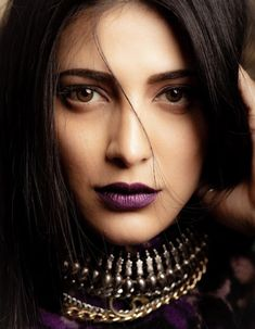 Shruti Hassan's love for dark lipsticks is nothing new and she has been a sucker for gothic makeup as well. Dark Lipstick Makeup, Violet Lipstick, Long Wear Lipstick, Lipstick Shades, Dusky Skin, Shades Of Maroon, Celebrity Makeup Looks, Revlon Super Lustrous, Schmuck