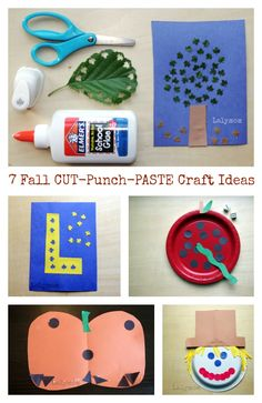 7 Fall Themed Cut Punch Paste Crafts and Art Projects Ideas for Preschoolers. So easy to set up and the kids love using paper punches!