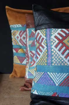 Pillow cover real soft leather and an old vintage kelim selected en designed by El Ramla Hamra http://www.elramlahamra.nl/component/virtuemart/woonaccessoires/berber-kussens-sierkussens/kelim-kussen-leer-3-detail.html?Itemid=0