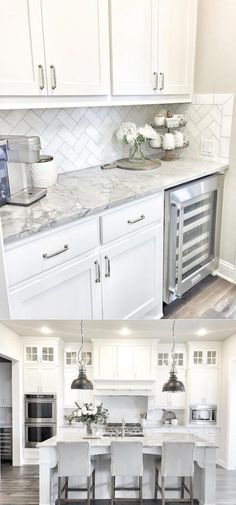 Grey and White Kitchen Decor. 20 Grey and White Kitchen Decor. 28 Luxury White Kitchen Decor Ideas Home Design Ideas Kitchen Cabinets Decor, Cabinet Decor, Home Decor Kitchen, New Kitchen, Kitchen Ideas, Kitchen Counters, Cabinet Ideas, Soapstone Kitchen, Kitchen Hacks