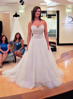 Season 7 Featured Dresses, Part 8. Cecilia. Dress info: Lazaro. Silver/multi-color. Tulle and hand embroidered silver overlay. Ballgown. Strapless with sweetheart neckline. Drop waist bodice with beading throughout. Embroidered overlay with multi-color tulle layers beneath. $5,940.00. #Weddings #SYTTD