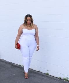 A Curvy Girl's Guide to Wearing All White - Rochelle Johnson (Click to shop FTF's jumpsuits)