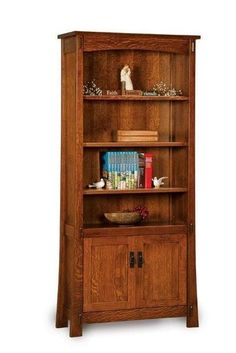 Amish Modesto Mission Bookcase with Two Doors Solid wood construction shows off your book collection. The Modesto is handcrafted in America and built with the wood and stain you choose. #bookcases
