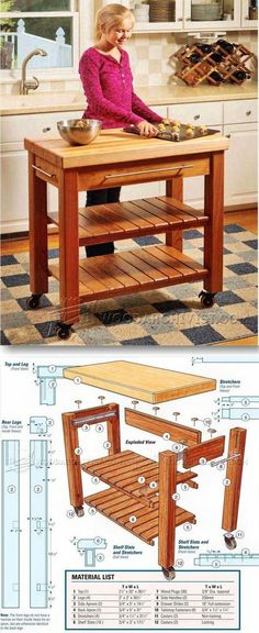 Portable Kitchen Island Plans - Furniture Plans and Projects   WoodArchivist.com