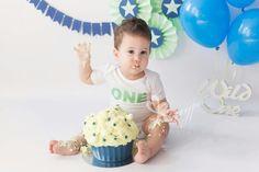 First birthday cakesmash, cake smash, green, blue, groen, blauw