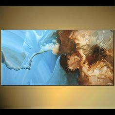 Original abstract art paintings by Osnat - horizontal blue abstract