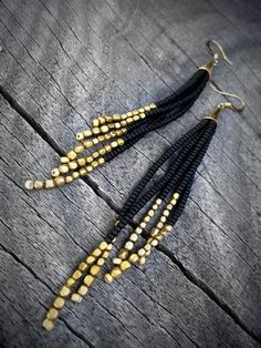 Black and Gold Earrings Beaded Fringe Native American by KadhiBo