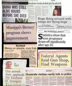 Journalism: bad headlines  {These are pretty funny!} #headlines #jteacher