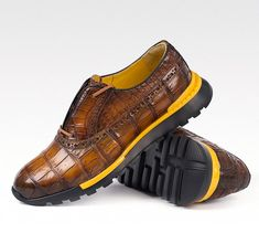 Alligator leather walking sneakers lightweight running shoes for sale, These fashion alligator leather shoes for men can be not only worn as lightweight sneakers and loafers but also perfect for casual. Dress With Sneakers, Casual Sneakers, Dress Shoes, Shoes Sneakers, Man Shoes, Lightweight Running Shoes, Best Running Shoes, Brown Leather Sneakers, Leather Shoes