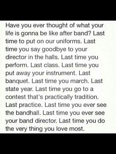 This was me senior year of high school. I'm in a couple of bands in college, but I miss high school band, especially marching band. Band Mom, Band Nerd, Love Band, Marching Band Quotes, Marching Band Problems, Music Jokes, Music Humor, Band Jokes, Instruments