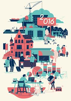 New year post card using snippets of a variety of illustration projects from the last year.  - illustration by Axel Pfaender from 2016
