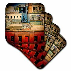 3dRose cst_56007_2 Rooftops Brooklyn Grunge GraffitiSoft Coasters Set of 8 *** Click image to review more details. (This is an affiliate link)