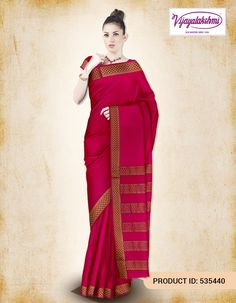 #Crepesilksaree #Jacquard #Traditionalwear #Sareesonline  Pink Jacquard Crepe Silk Saree with Zari border and zari vertical striped in pallu. Saree comes with a plain red blouse with running border. Shop in the comfort of your home with Free Shipping and COD option available within India.  http://www.vijayalakshmisilks.com/crepe-silk-saree-12