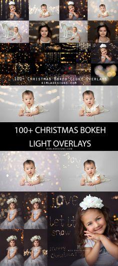 100 Christmas Gold Bokeh Photo Overlays for by KimlaDesigns