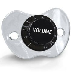 Volume Control pacifier. This site also has a panic button and mustache pacifier...