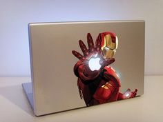 Who better to protect your precious macbook than iron man himself! This clever little Iron Man macbook sticker fits straight over your apple logo giving the appearance as if its one of the blasters on Iron Man's hand! Mac Book, Calcomanía Macbook, Macbook Decal Stickers, Laptop Decal, Mac Stickers, Mac Decals, Apple Stickers, Vinyl Decals, Be My Hero